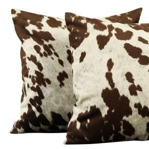 10 Western Decor HomeSullivan Brown and White Animal Print Cowhide Polyester 18 in. x 18 in. Throw Pillow (Set of 2) 40468F23P[2PC] - The Home Depot -   western decor Western Bedroom Decor, Western Living Rooms, Western Bedding, Western Comforter Sets, Texas Bedroom, Vintage Western Decor, Cowboy Home Decor, Western Nursery, Western Decorations