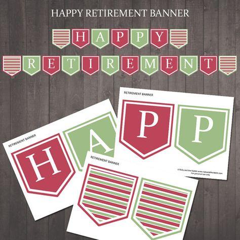 Printable Happy Retirement Banner Instant Download Happy