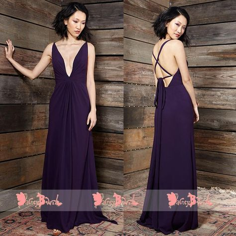 Dark Purple Sexy Spaghetti Strap Lace Up Back Deep V-neck Bridesmaid  Dresses,DB108