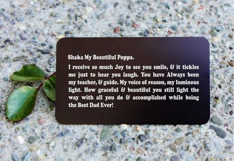 SHIPS FAST, Custom Engraved Wallet Card Insert, Personalized Fathers Day Gift from Daughter, Daughte