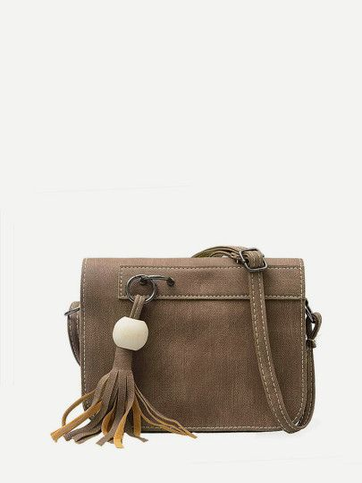 Leather Detail Faux BagMode Tassel Crossbody dCshrtQ