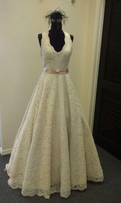 A Line V-Neck Wedding Dress Lace Wedding Dress A-Line Wedding Dress ...