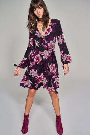 Mor Cicek Desenli Kruvaze Yaka Orme Gunluk Elbise Elbise Mini Elbiseler The Dress