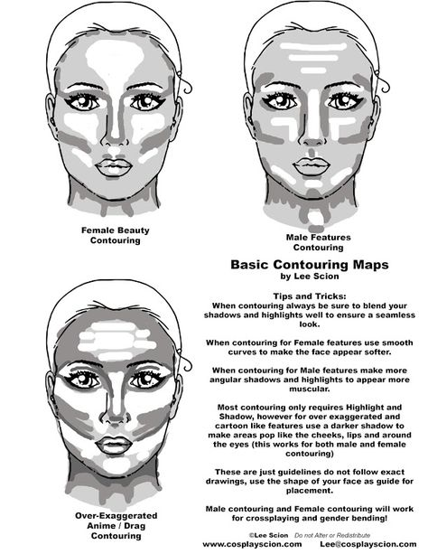 Make up Basic Contouring Tutorial by The Cosplay Scion View the Full Tutorial Here: www. Makeup Techniques Basic contouring cosplay full Makeup Techniques contouring Scion Tutorial View www Male Contour, Contour Makeup, Face Contouring, Contouring Guide, Makeup Brush, Anime Cosplay, Cosplay Diy, Cosplay Costumes, Drag King Makeup