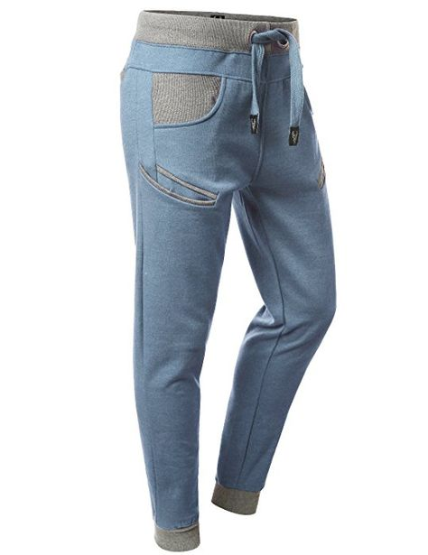URBANCREWS Mens Hipster Hip Hop Jogger Pants w  Cell Pockets DENIMBLUE  LARGE at Amazon Men s Clothing store  8770065fc24c