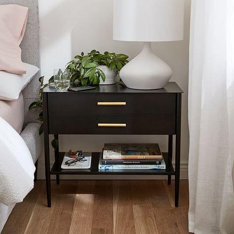 Black Nightstand, Black Bedside Tables, Bedside Table Styling, Bedside Table Decor, Modern Bedside Table, Nightstand Ideas, Bedside Dresser, Bedside Lockers, Bedroom Table