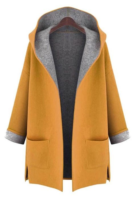 Wear winter coats for any type of occasion winter coats hooded long sleeve two pockets coat becpvod