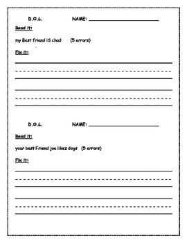 Free Printable Daily Oral Language Worksheets 4th Grade