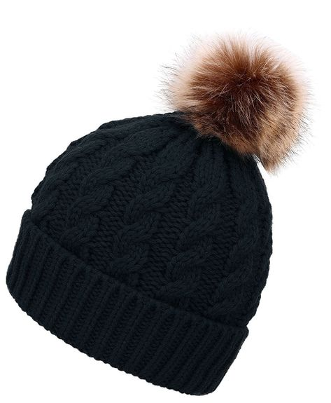 c790e9937a014 Women Winter Warm Knitted Faux Fur Pom Pom Beanie Hat - Black ...