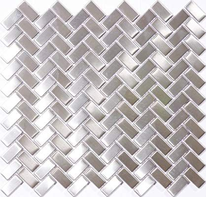Susan Jablon Mosaics 5 8 X 1 1 4 Inch Subway Stainless Steel Tile Glass Ti Stainless Steel Tile Stainless Steel Tile Backsplash Stainless Steel Subway Tile