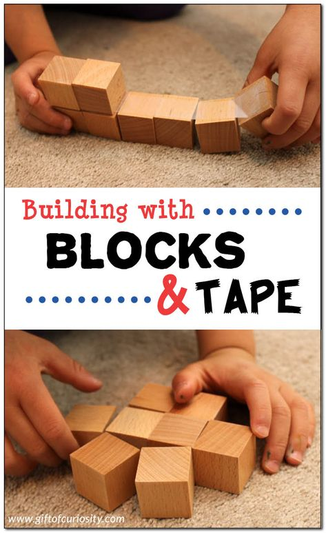Building with blocks and tape is a wonderful way to promote the development of early STEM skills. See all the creative ways kids can build with blocks and tape! #STEM #STEAM #engineering #giftofcuriosity #handsonlearning || Gift of Curiosity