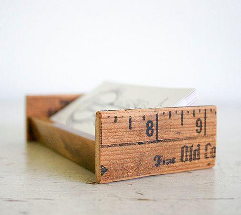 Desktop Business Card Holder Upcycled Vintage Parts Etsy Visitenkarten Basteln Ideen
