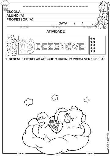 Atividade Ursinhos Carinhosos Numeral 19 Matematica Infantil