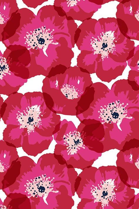 Big Poppies - Red by jillbyers - Hot pink and mauve poppies on fabric, wallpaper, and gift wrap. Bold pink floral pattern in bright pink shades. pattern Colorful fabrics digitally printed by Spoonflower - Big Poppies - Red