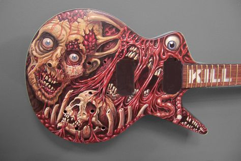 """Rob Barret's (Cannibal Corpse) guitar. By Mike """"Pooch"""" Pucciarelli."""