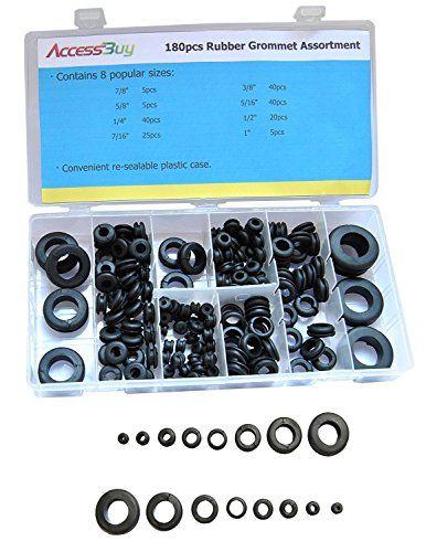Accessbuy 180 Piece Rubber Grommet Shop Assortment Rubber Grommets Grommets Plastic Case