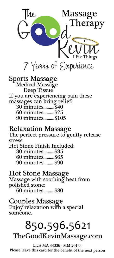 Rack Cards For The Good Kevin Massage Therapist Side   Look
