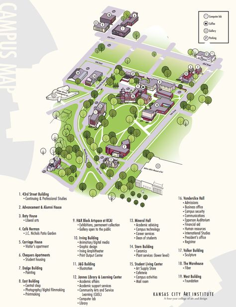 Visiting KCAI? Take a look at our campus map  | 手绘地图 in 2019