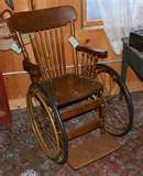 Victorian oak rubber wheeled wheel chair