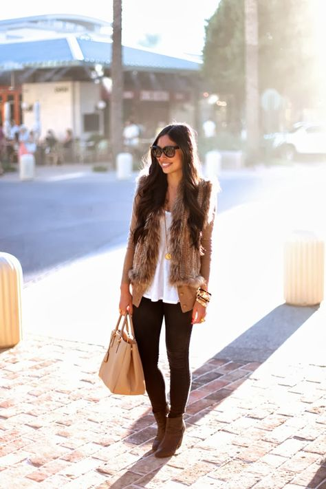 Fall Essentials: Faux Fur and a pair of J BRAND Photo Ready Maria's. #FallforJBRAND