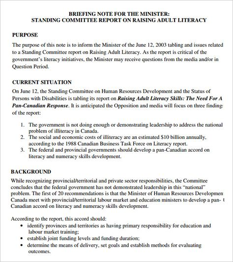 10 Briefing Note Templates Pdf Doc Briefing Note Free Word