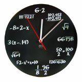 DCI Matte Black Powder Coated Metal Mathematics Blackboard Pop Quiz Clock, 11-1/2 Diameter $18.79