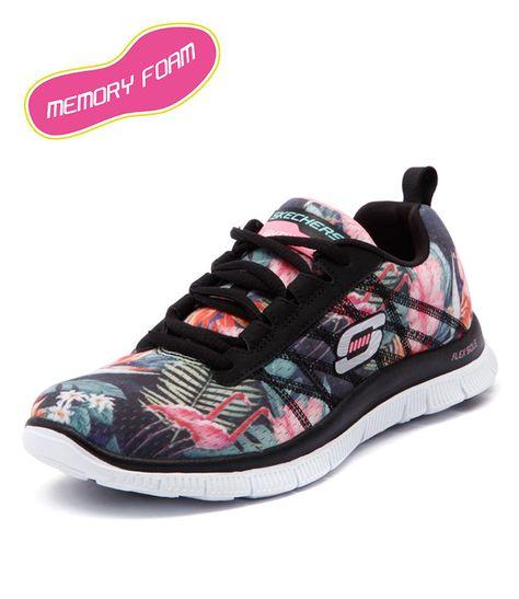 Skechers Flex Appeal Floral BlackMint Women Shoes Sneakers