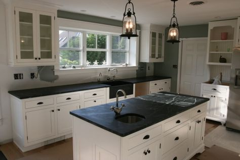 Kitchen Cabinet White Paint and Black Laminate Countertops also Double Handle Single Hole Faucet Above Stainless Steel Bar Sink Undermount