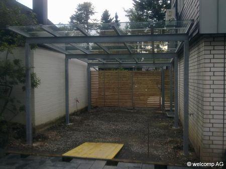 Carport Pultdach Glas Vsg 10 Mm Seitenverkleidung Larchenholzlatten Carport Stahl Pultdach Carports
