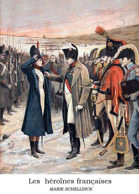 Napoleon Bonaparte Presenting The Female Officer Marie Schellinck With A Medal On The B Avec Images Le Petit Journal Histoire En Francais Guerres Napoleoniennes