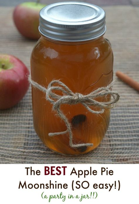 Apple Pie Moonshine Easy DIY Apple Cider Moonshine<br> Easy recipe for the best Apple Pie Moonshine - Be the life of the party and make this Apple Pie Moonshine Makes a great food gift as well! Apple Pie Moonshine, Homemade Moonshine, Moonshine Drink Recipes, Making Moonshine, Moonshine Cocktails, How To Make Moonshine, Sangria, Homemade Liquor, Homemade Apple Pies