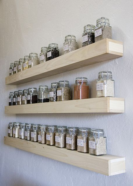 Newly built floating shelves for the sand collection, via Flickr.