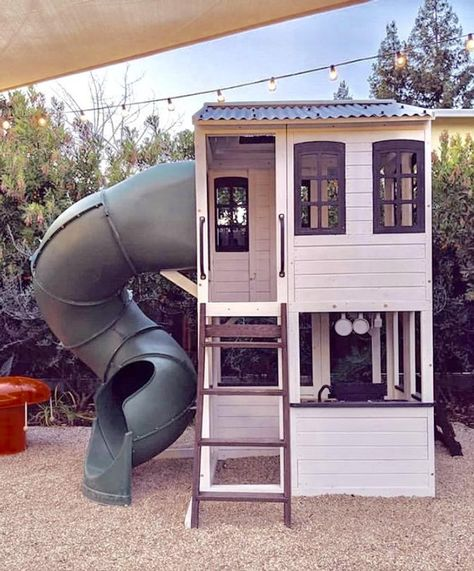 Farmhouse Style Outdoor Playhouse – Two Story with Slide - Kids playhouse Kids Playhouse With Slide, Boys Playhouse, Backyard Playhouse, Build A Playhouse, Backyard Playground, Backyard For Kids, Playhouse Ideas, Kids Outdoor Playhouses, Kids Outside Playhouse