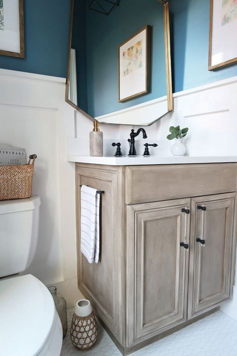 Modern coastal powder room: REVEAL One Room Challenge. See the amazing transformation .Modern coastal powder room: REVEAL One Room Challenge. See the amazing transformation of this guest toilet on a budget. Diy Bathroom, Painted Furniture, Bathroom Decor, Bathroom Makeover, Coastal Powder Room, Painting Bathroom, Painting Bathroom Cabinets, Painted Vanity, Painted Vanity Bathroom