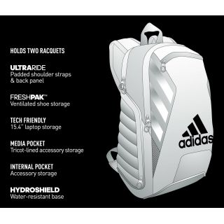 Adidas Tour Tennis Racquet Backpack Black White Silver 58 95 Black Backpack Wedge Tennis Shoes Backpacks