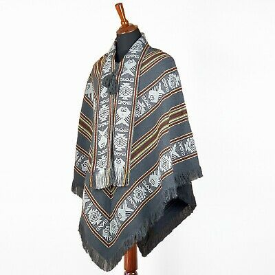Soft Llama Wool Ethnic Poncho Cape Coat Jacket Boho Festival  Handwoven In Ecuador