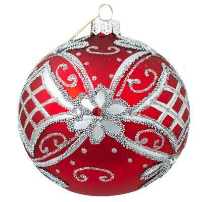 The Holiday Aisle Royal Flower Ball Ornament Flower Ball Ball Ornaments Glass Ball Ornaments