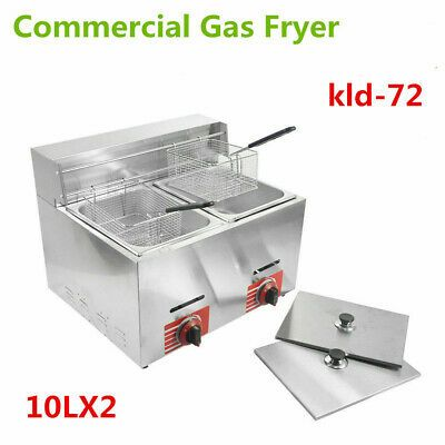 Details About Commercial Countertop Gas Fryer 2 Basket Deep Fryer