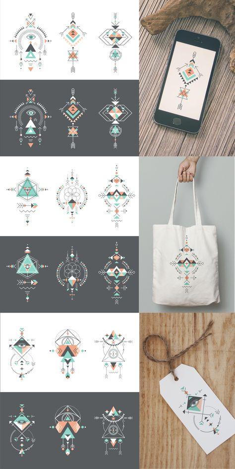 Sacred Geometry Aztec Shapes by Marish on @creativemarket