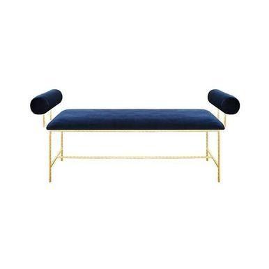 Astonishing Bolster Arm Gold Leaf Bench In Navy Velvet Furniture In Ibusinesslaw Wood Chair Design Ideas Ibusinesslaworg