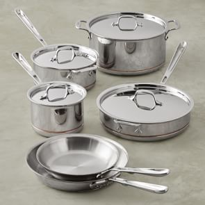 All Clad D3 Tri Ply Stainless Steel 10 Piece Cookware Set With
