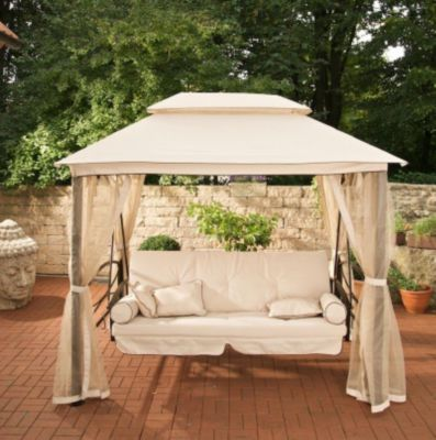 Hollywoodschaukel mit pavillon  Greenfingers Regency Swing Bed Gazebo Natural on Sale | Fast ...