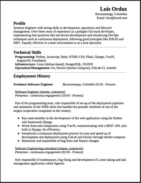 Freelance Software Engineer Resume This is a summary of my - angularjs resume
