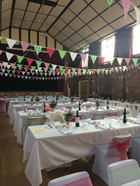 Local town hall in coleshill looking fab for a 50s style wedding with random jugs of wild flowers and bunting   #pennyjohnsonflowers  #birminghamflorist #weddingflorist #weddingflowers