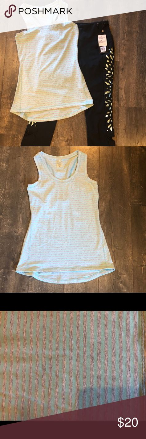 e23191454fef3 Calia fitness outfit Size XS blue and grey striped tank NWOT Size S black  and blue