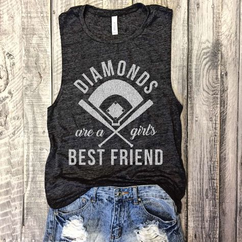 This item is unavailable - DIAMONDS Are A Girl's Best Friend, Baseball Muscle Tee in Charcoal/White Workout Top, Muscle Tank - Softball Shirts, Cheer Shirts, Softball Mom, Party Shirts, Softball Stuff, Softball Clothes, Softball Cheers, Softball Crafts, Softball Pitching
