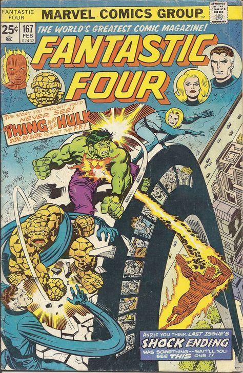(CB-4) 1975 Marvel Comic Book: Fantastic Four #167 - Thing vs Hulk, Thing Loses Powers