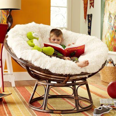 Papasan Chair Frame Brown And Shag Cushion Love