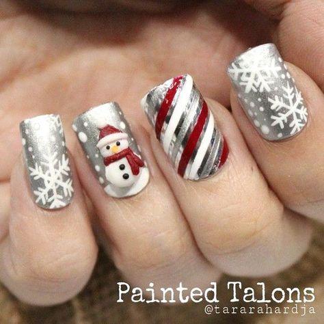 Frosty the Snowman Christmas Nail Art Design