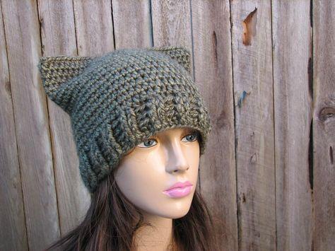 c10a6939ac8 CROCHET PATTERN!!! Cat Hat - Slouchy Hat